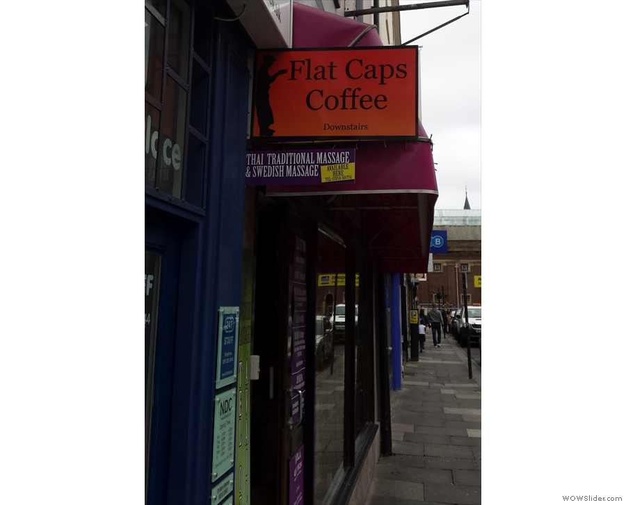 Flat Caps Coffee on Ridley Place. Not sure about Joe branching out into massage though!
