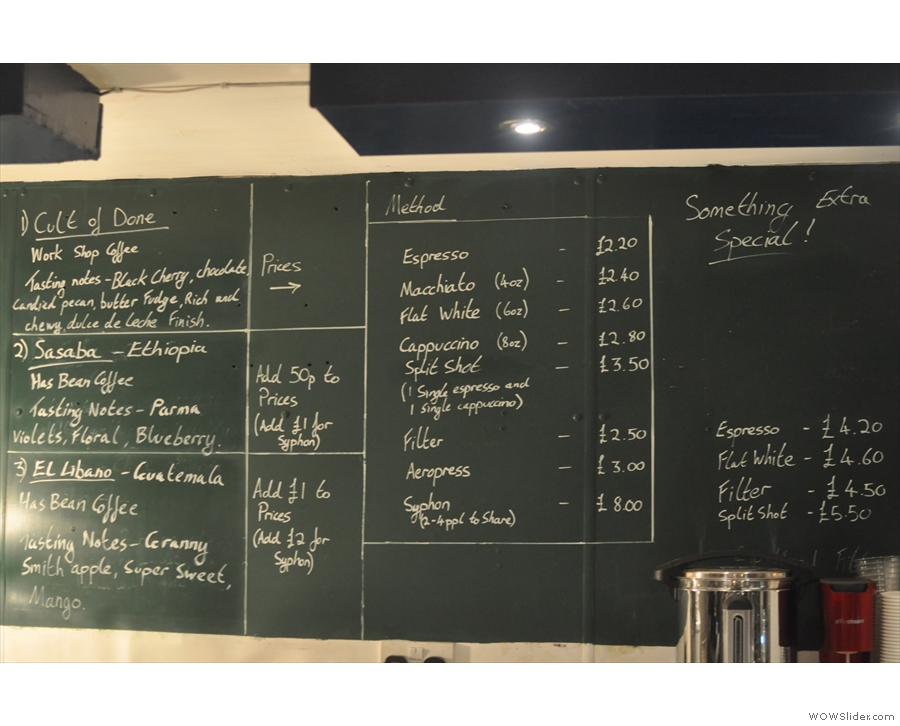 The main coffee menu, meanwhile, is chalked up on the back wall.