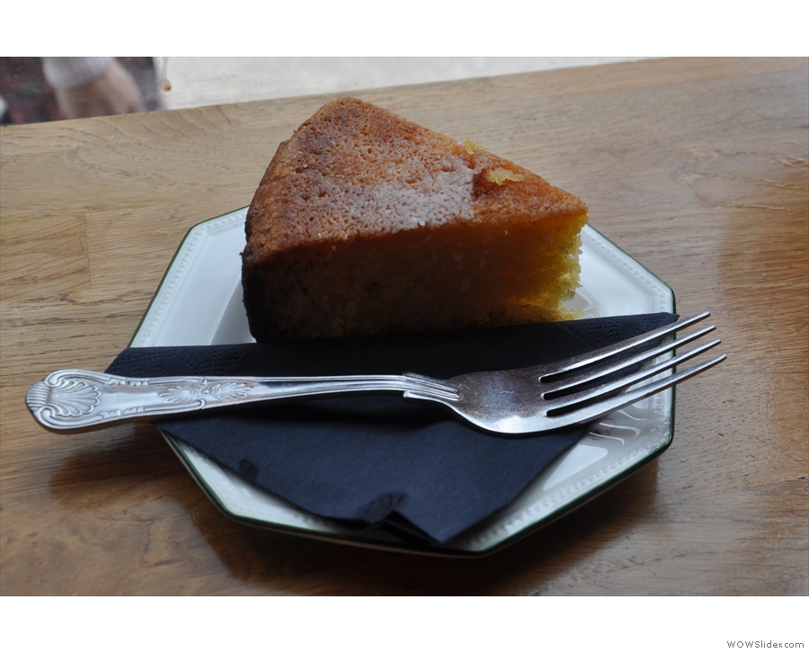 My slice of the excellent lemon polenta cake.