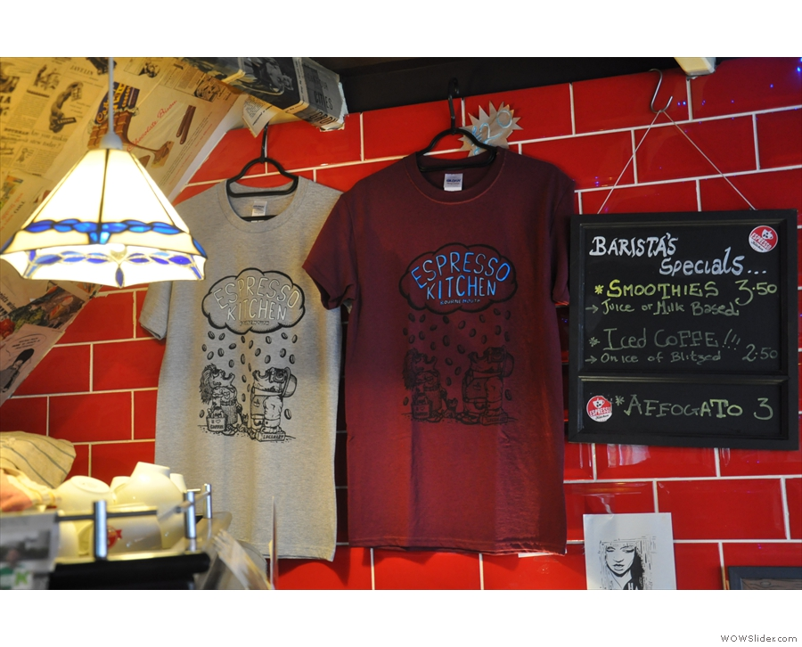 As well as branded re-usable cups, there are Espresso Kitchen t-shirts to be had!