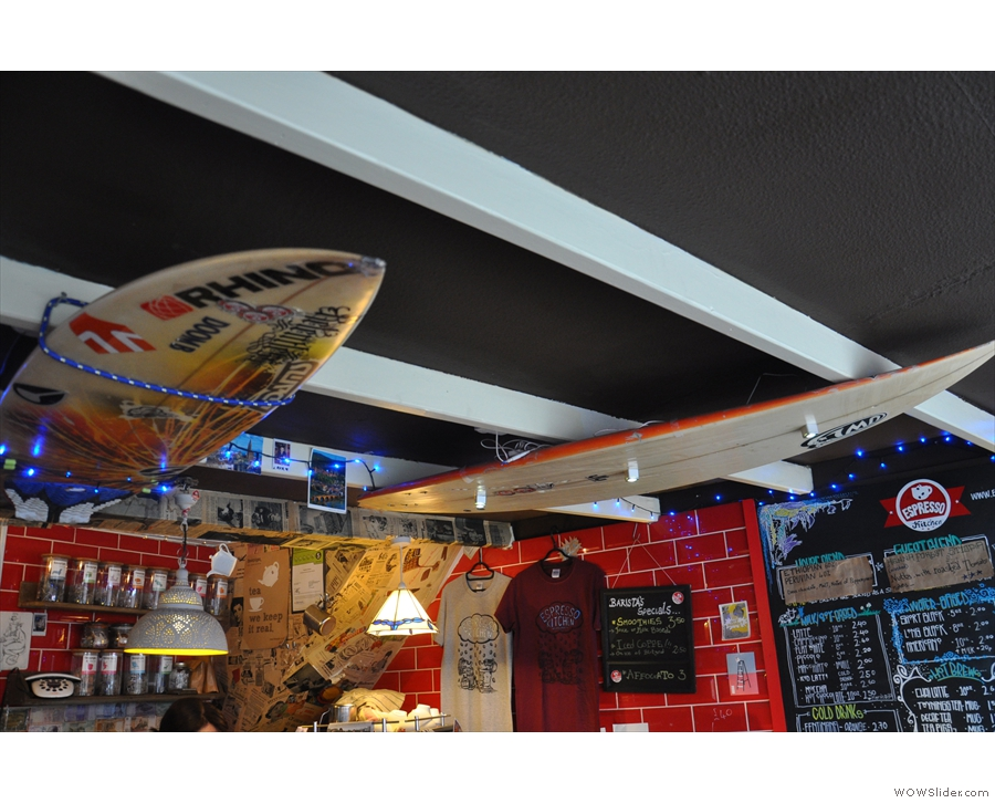 Bournemouth has a large, active surfing scene: cue surf boards attached to the ceiling.