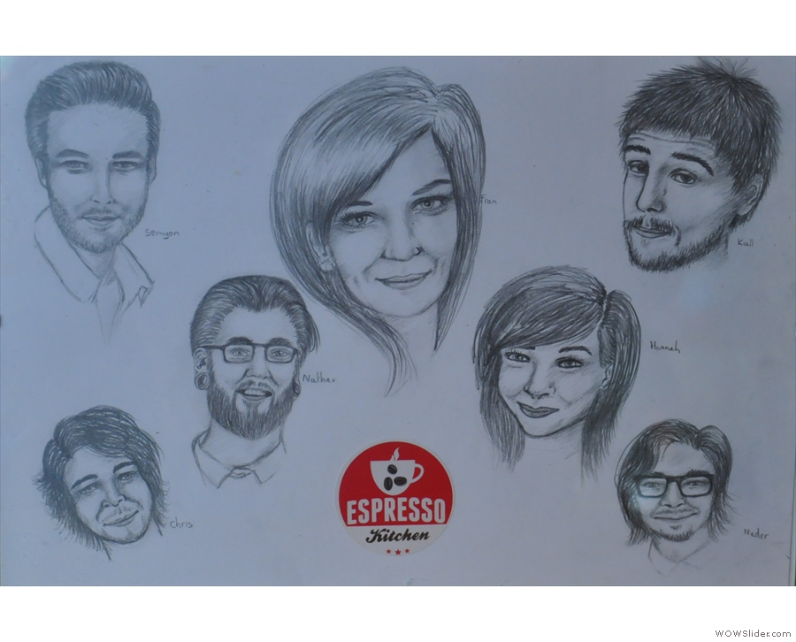 Talking of decoration, take a look at these hand-drawn portraits of the staff.