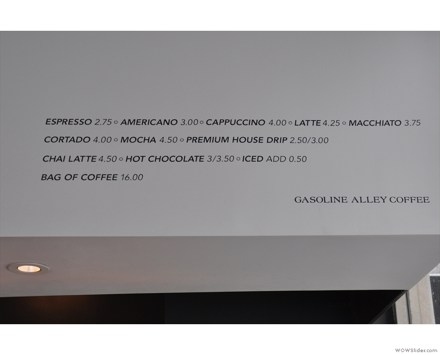 As in the original Gasoline Alley, the minimalist menu is written above the counter.