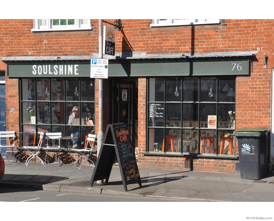 Soulshine Cafe on Bridport's South Street in the spring sunshine.