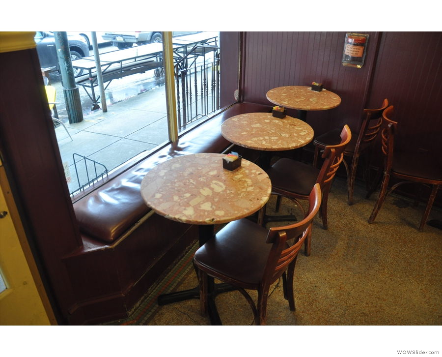These are my favourites, a line of three tables in the window.