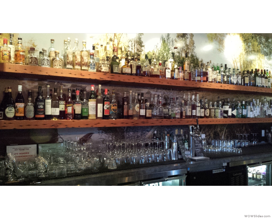 I sat at the bar, where, I feared, the extensive range of alcohol would be wasted on me.
