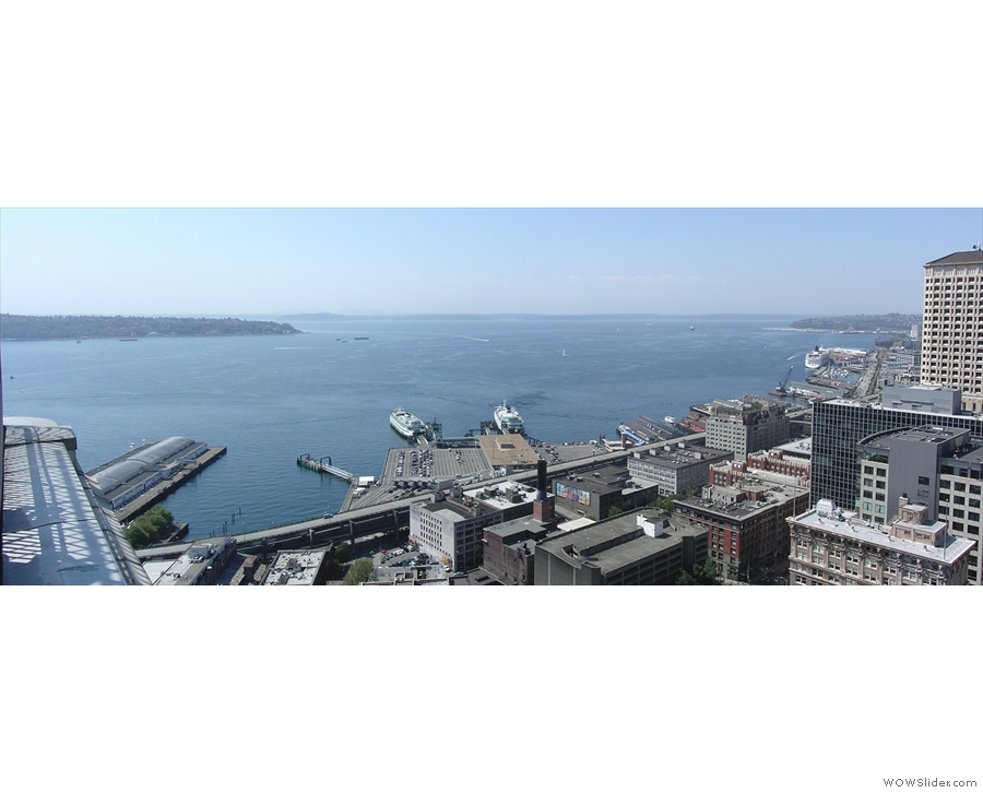 You can go up to the viewing platform at the top. I didn't have time this trip, but 10 years ago I got this magnificent view of Seattle Harbour. It's still very much a working harbour.