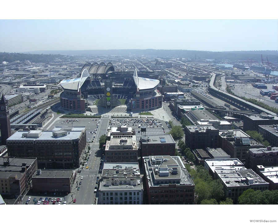 Looking due south from the tower: the ball park is the home of the Seattle Mariners.