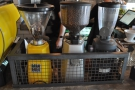 Next come the three espresso grinders, so dangerous that they have to be kept in cages!