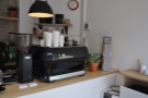 The business end of the counter. Lanark has brought in its own espresso machine.