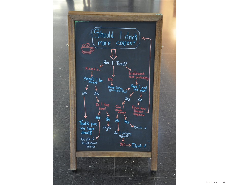 If you're in any doubt about what to order, there's this handy flowchart on the A-board.