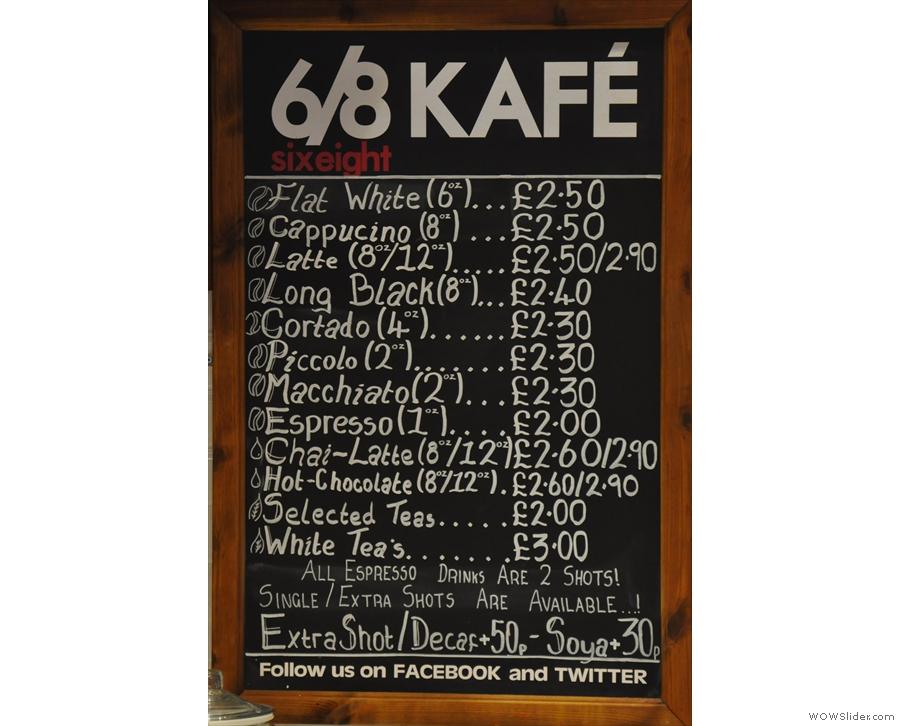 However, we came for the coffee. Nice, comprehensive menu.