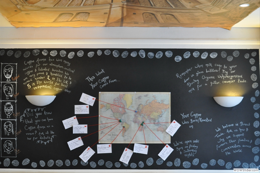 The big coffee map on the wall upstairs