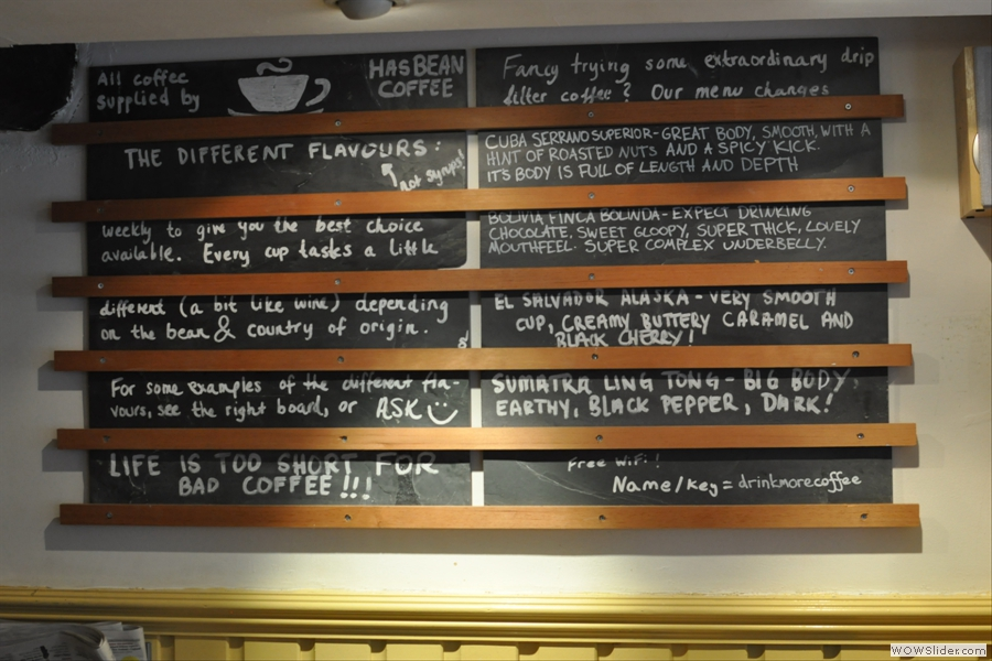 There's a lot of menus and chalk-boards...