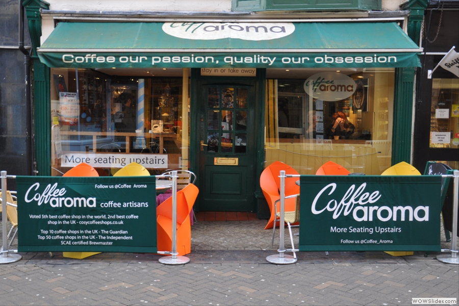 Coffee Aroma on Lincoln's Guildhall Street. Not exactly shy about its achievements...
