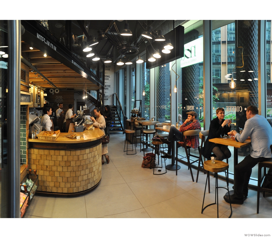 July, and the Coffee Spot was back in London, visiting the new Notes at King's Cross, with its lovely mezzanine level and its coffee by day, wine by night concept.