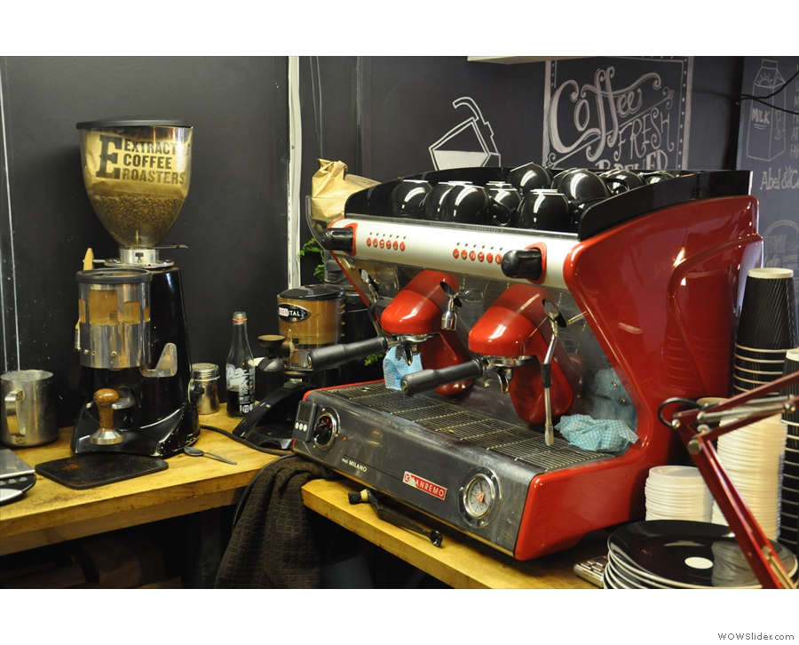 The red Sanremo is a little at odds with the black and white colour scheme!
