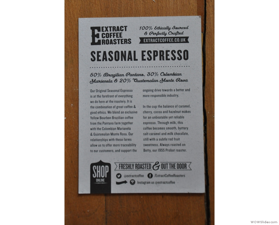 Meanwhile, some details on the espresso blend from Extract Coffee.