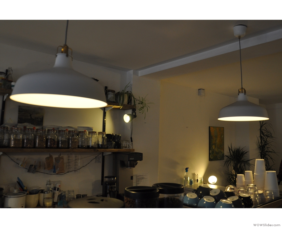 More conventional lights, in shades no less, hang above the counter.