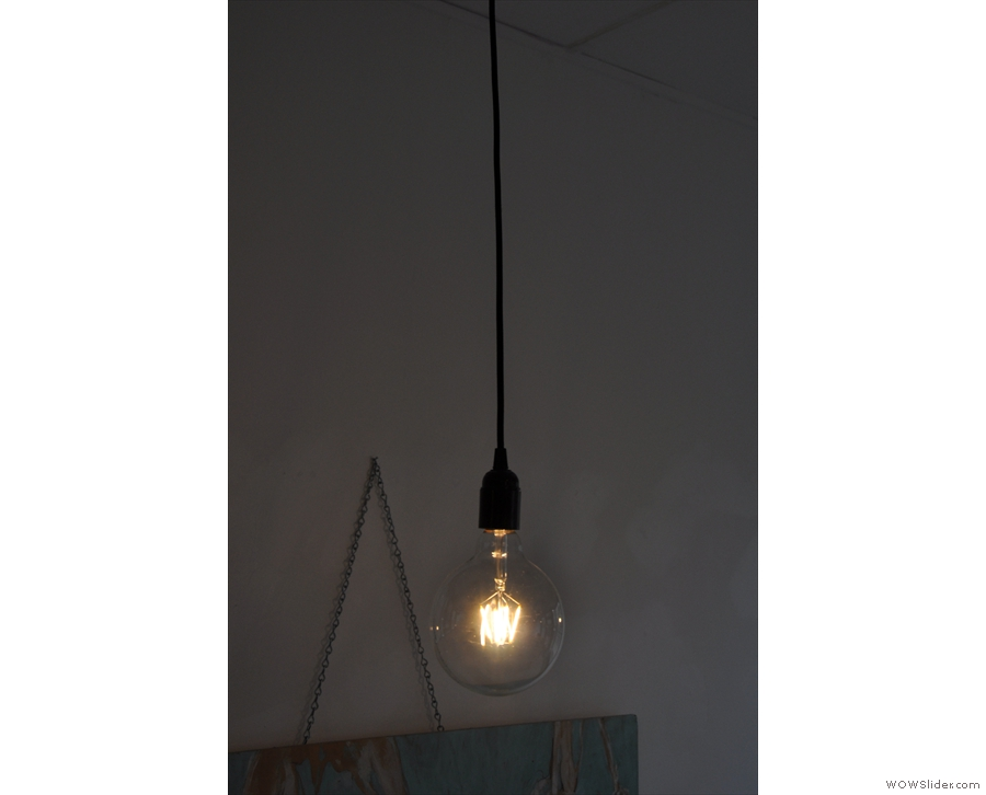 On the right, the lights hang more conventionally...