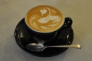 Finally, I leave you with a flat white (not mine) & a beautiful latte-art swan.