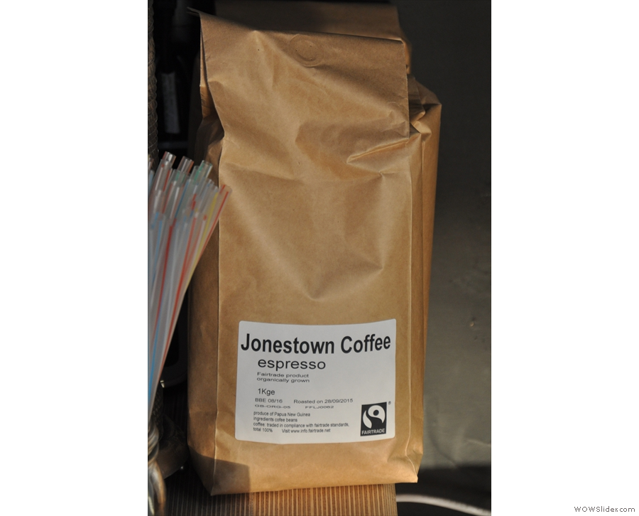 Jonestown's coffee's roasted on its behalf by a local roaster & is from Papua New Guinea.