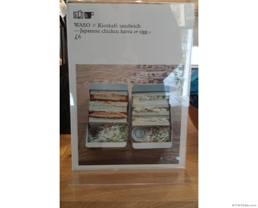Not only that, but the Kioskafe has added a range of (two) sandwiches.