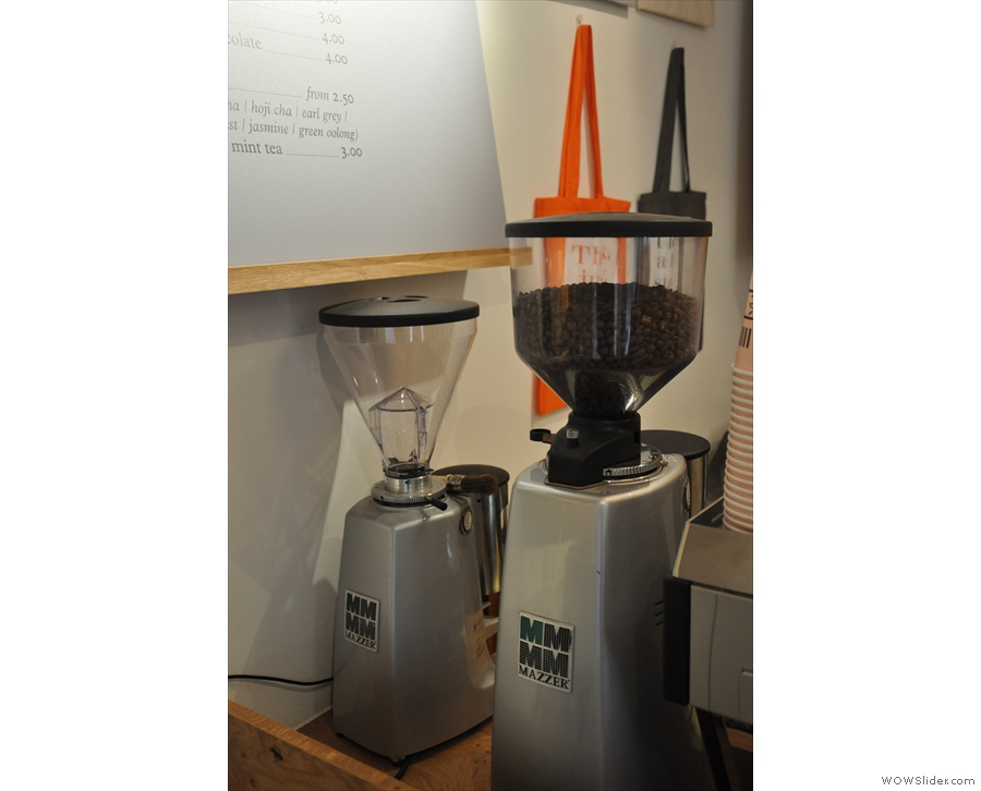 Allpress' Redchurch blend is in the main grinder. There are plans for the second grinder too.