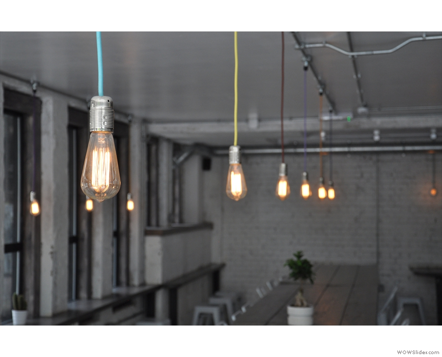 The Cover: strings of light bulbs at La Bottega Milanese, Bond Court in Leeds