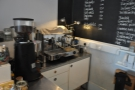 The heart of the coffee side of Stag Espresso is at the far end of the counter.