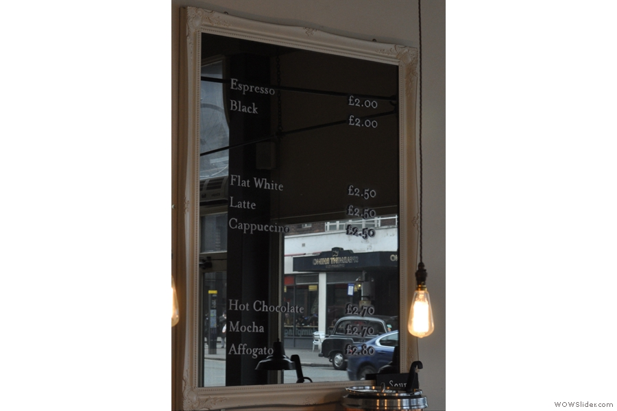 The coffee menu, written on one of the mirrors and rather hard to photograph!