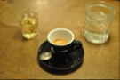 The coffee comes with Oolong tea as a palette cleanser, but I also had a glass of water in a jam jar.
