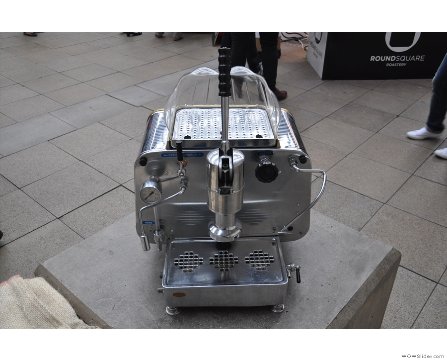 It's also a one-group machine. Looks remarkably like a modern espresso machine, doesn't it?