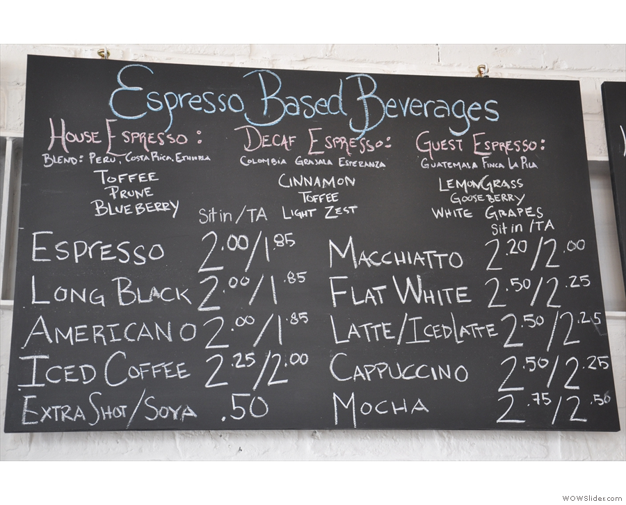 The information is roughly the same though: the espresso menu from 2014...