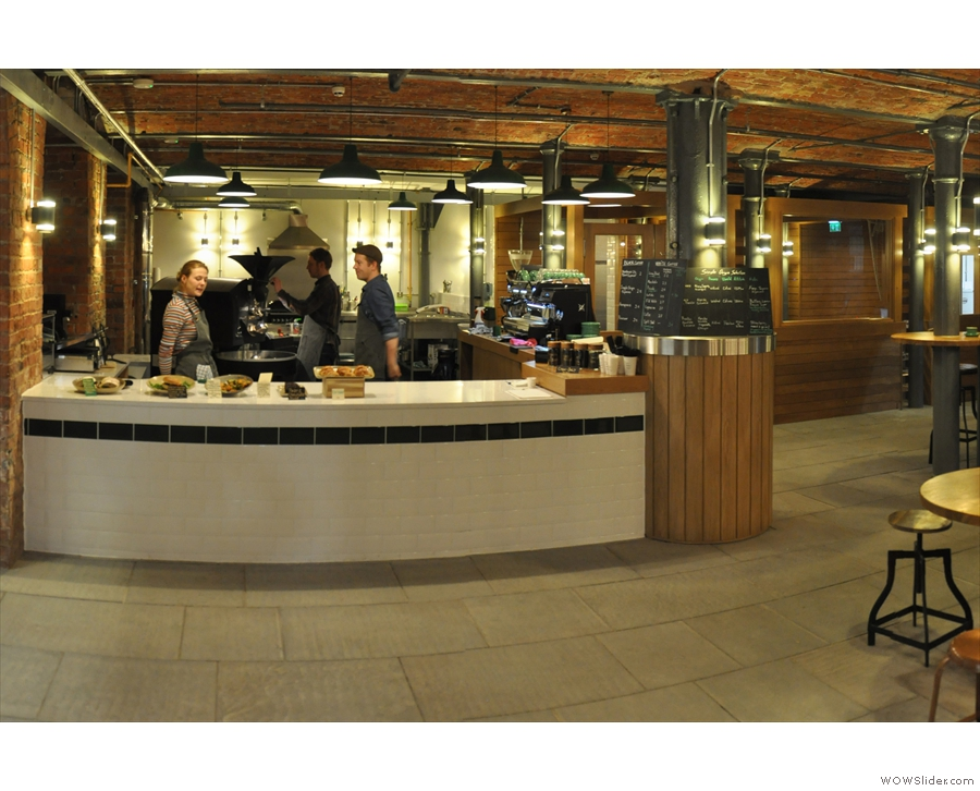 The counter's to the left as you come in, the roastery behind it and to the right.