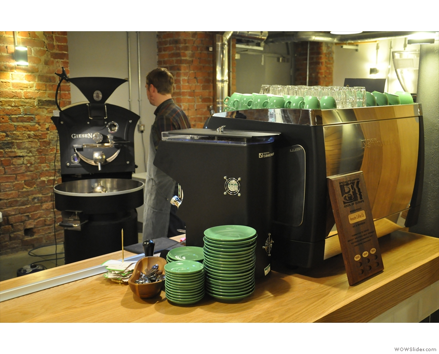 That might be the shortest distance from roaster to espresso machine I've ever seen...