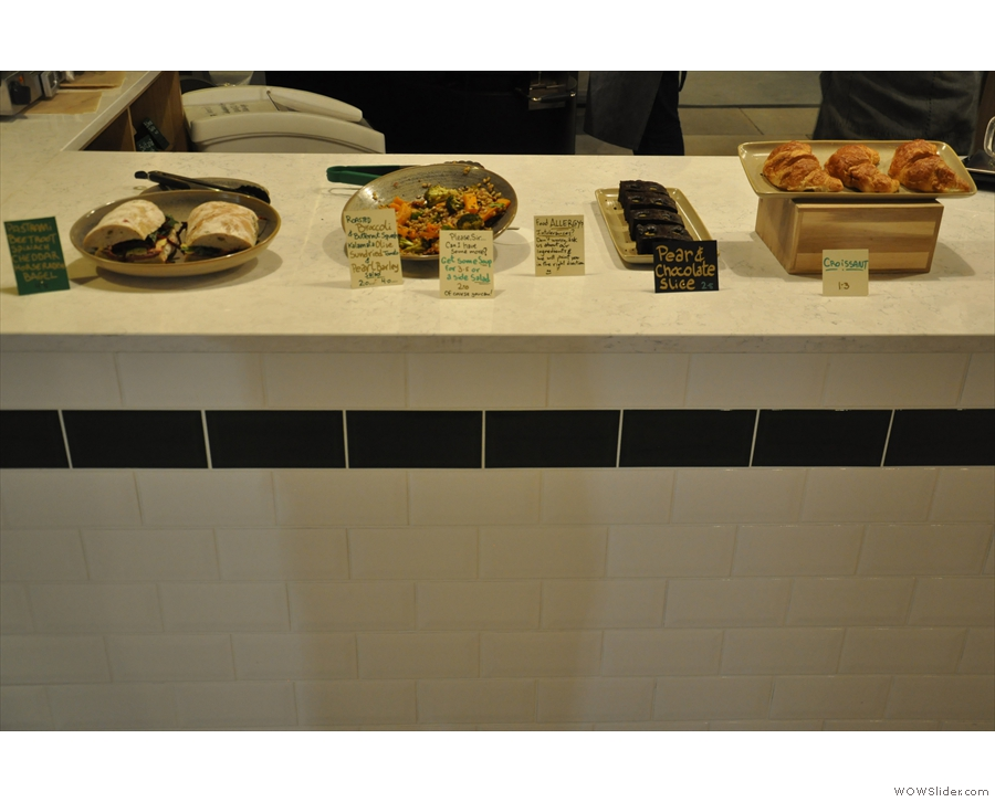 ... but it's not yet in use. Until then, there's a small range of sandwiches, salads...