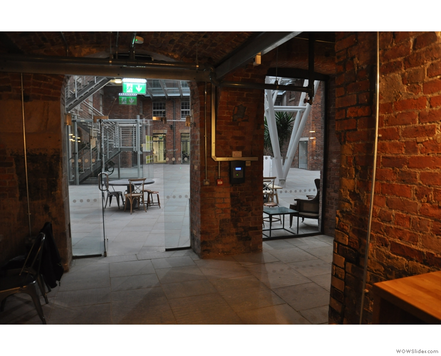 Beyond the rows of seats is Ancoats' second entrance, which leads to/from the courtyard.