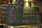 The coffee menu, meanwhile, is chalked up on these boards on the corner of the counter.