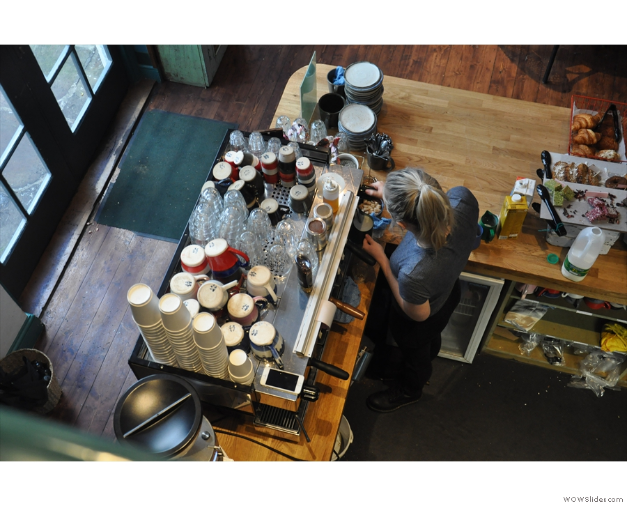 Being up on the mezzanine level gives you a very good look at the espresso machine.