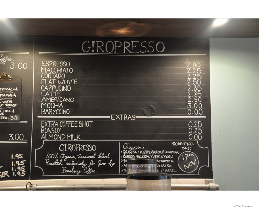 And finally, the espresso menu...