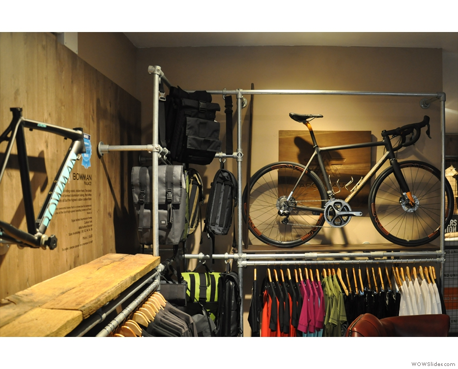 There's more kit, clothing and a whole bike for sale at the back...