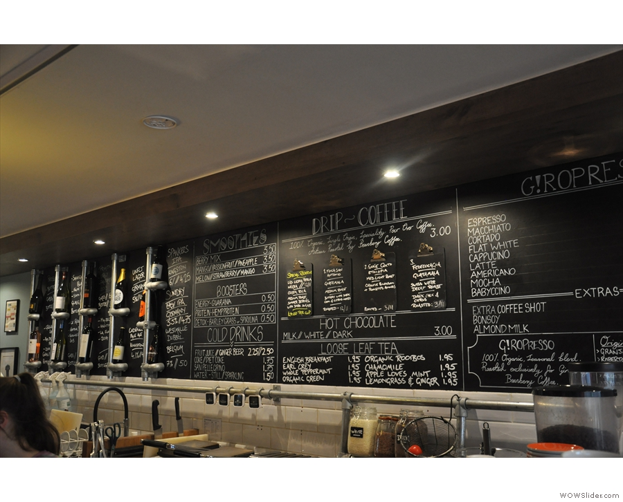 The menus are chalked up on boards behind the counter.