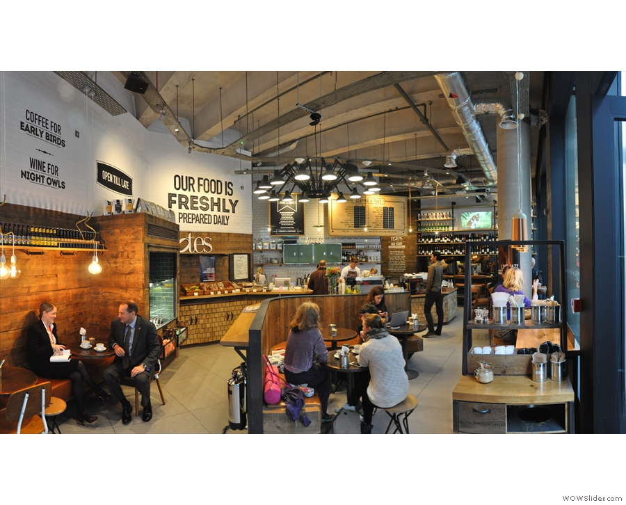 Stepping inside, a panoramic view to the right, looking towards the counter.