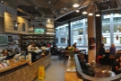 A panoramic view from by the near end of the counter.