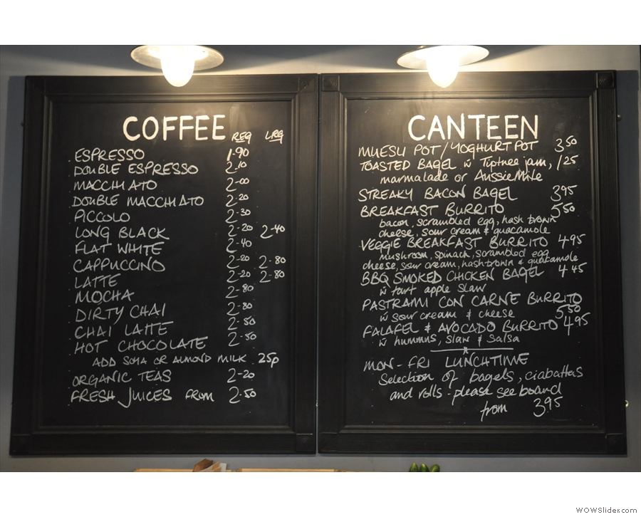 ... and an impressive coffee menu and an even more impressive food menu.