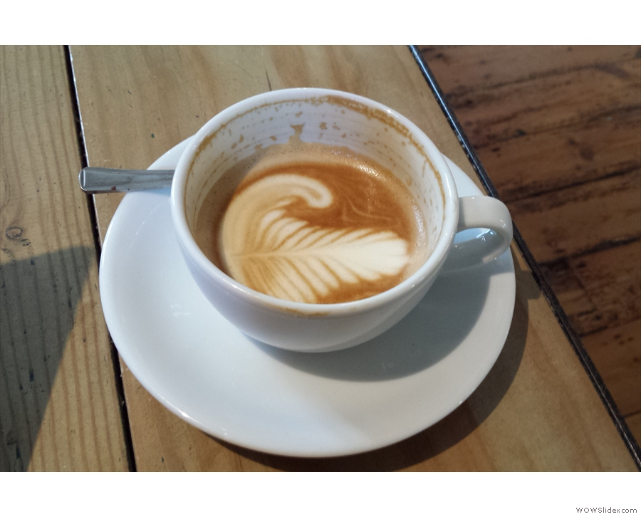 It's worth having a closer look at the flat white, which is holding its pattern very well.