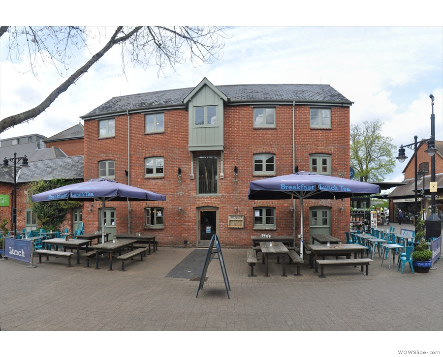 It's housed in a lovely, 19th century granary, three floors, lots of outside seating.