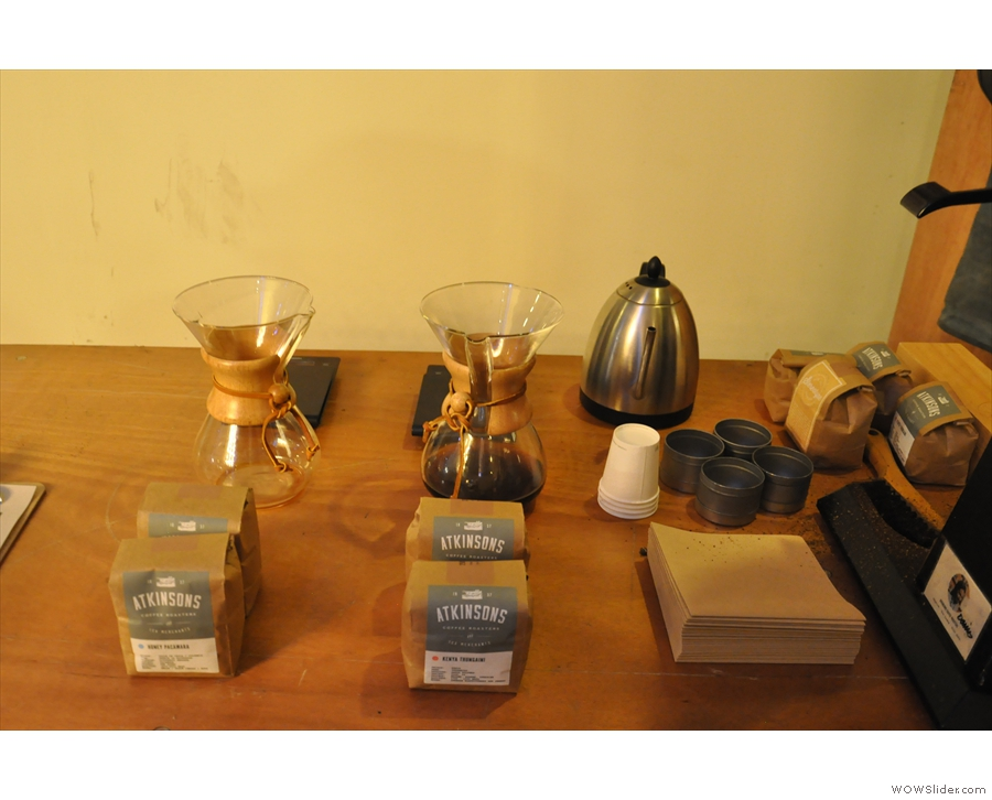 The trusty chemex was on display, showcasing some of Atkinson's single-origins.