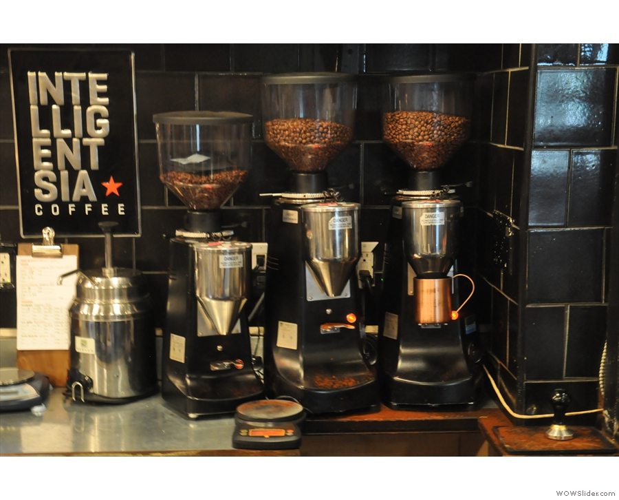 There are three espresso grinders: Black Cat (house), single origin and decaf.